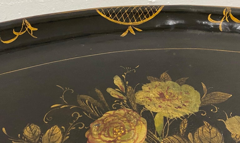 English 19th Century Hand Painted Papier-Mâché Tray on a 20th Century Stand For Sale