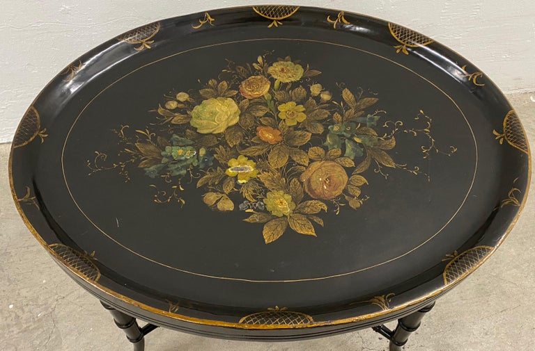 Paper 19th Century Hand Painted Papier-Mâché Tray on a 20th Century Stand For Sale
