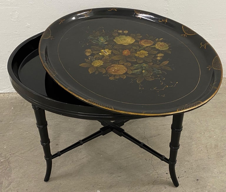 19th Century Hand Painted Papier-Mâché Tray on a 20th Century Stand For Sale 1