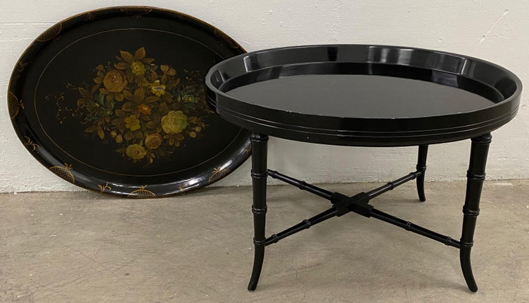 19th Century Hand Painted Papier-Mâché Tray on a 20th Century Stand For Sale 2