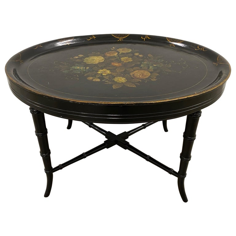19th Century Hand Painted Papier-Mâché Tray on a 20th Century Stand For Sale