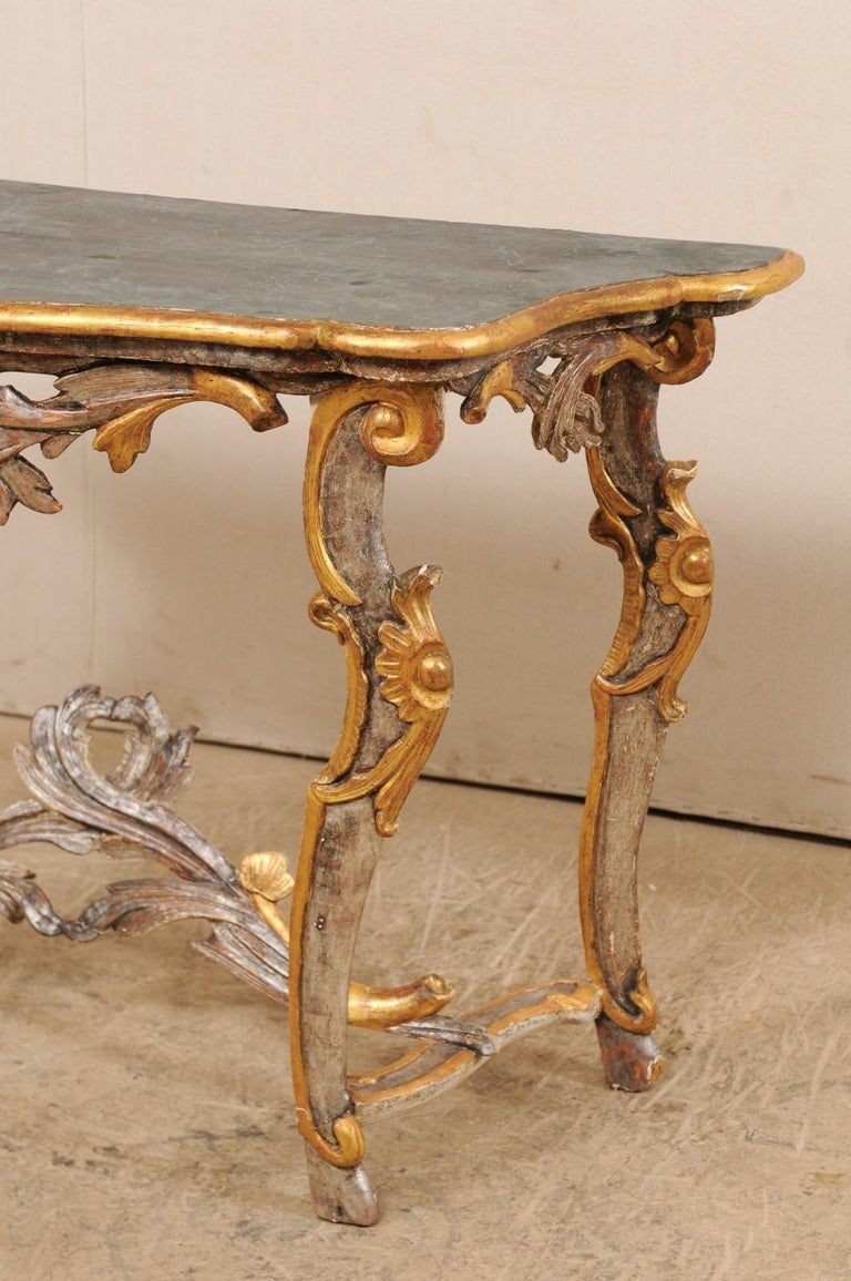 Exquisite 19th Century Italian Carved and Giltwood Console Table For Sale 2