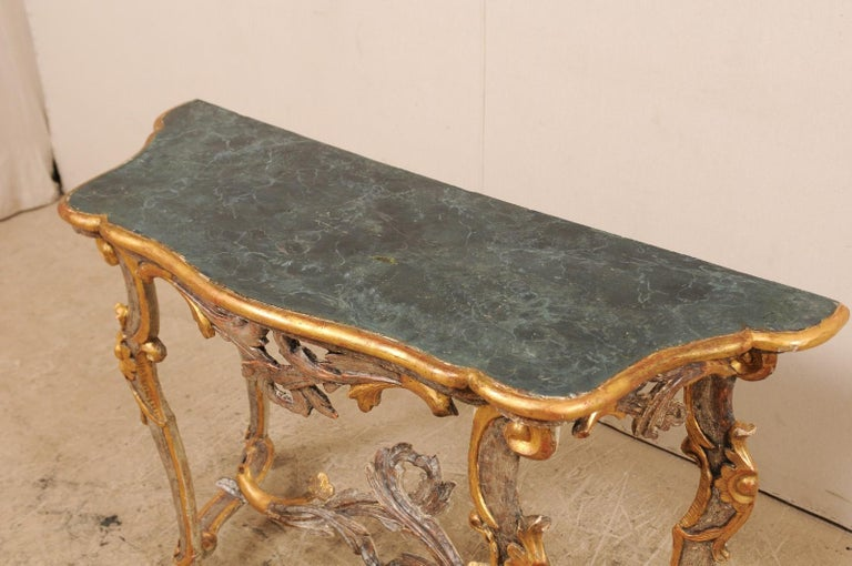 Exquisite 19th Century Italian Carved and Giltwood Console Table For Sale 6