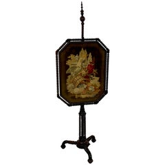 Exquisite 19th Century Rosewood & Needlepoint Cockatoo in Landscape Firescreen