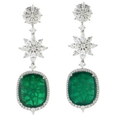 20.74 Carat Emerald Diamond 18 Karat Gold Earrings
