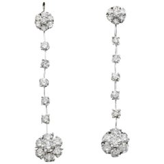 Exquisite 2.10 Carat Natural VS1-VS2 Diamond 14 Karat Solid White Gold Earrings