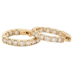 Exquisite 3.50 Carat Natural Diamond 14 Karat Solid Yellow Gold Hoop Earrings