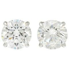 Exquisite 5.04 Carat Diamond Platinum Stud Earrings GIA