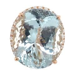 Exquisite 50C Aquamarine 1C White Diamonds 14k Rose Gold Designer Ring