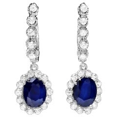 Exquisite 5.70 Carat Natural Sapphire and Diamond 14 Karat Solid Gold Earrings