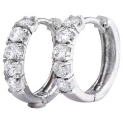 Exquisite .60 Carat Natural Diamond 14 Karat Solid White Gold Hoop Earrings