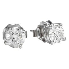 Exquisite .60 Carat Natural VS2-SI1 Diamond 14K Solid White Gold Stud Earrings