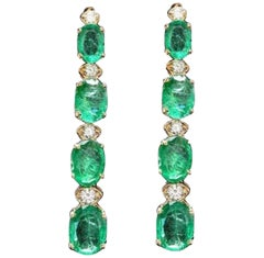 Exquisite 7.30 Carat Natural Emerald and Diamond 14 Karat Solid Gold Earrings
