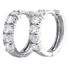 Exquisite .75 Carat Natural Diamond 14 Karat Solid White Gold Hoop Earrings
