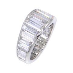 Exquisite 8.10 Carat Baguette Diamond Platinum Eternity Band
