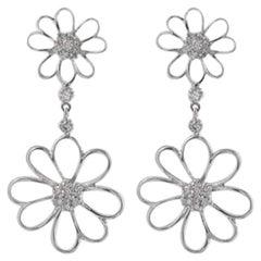 Exquisite .85 Carat Natural Diamond 18 Karat Solid White Gold Earrings