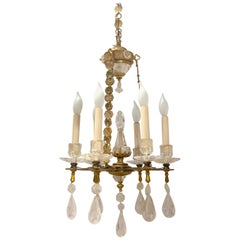 Exquisite All Rock Crystal and Gilt Bronze Six-Light Boudoir Chandelier