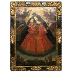 Exquisite and Grand 18th Century Spanish Painting of the Virgin Mary and Child