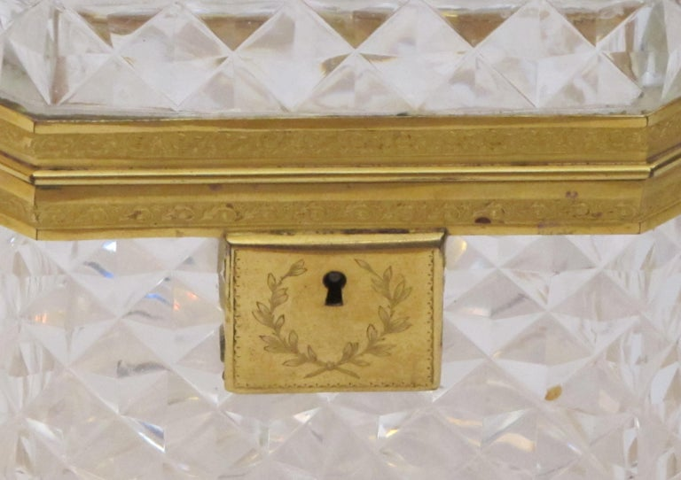 French Exquisite Antique Baccarat Diamond-Cut Crystal Vanity Box For Sale