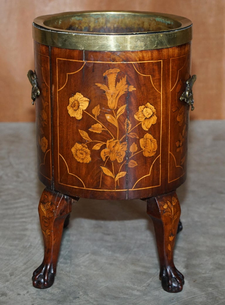 Exquisite Antique circa 1800 Dutch Inlaid Wine Cooler Bucket Claw & Ball Feet For Sale 2