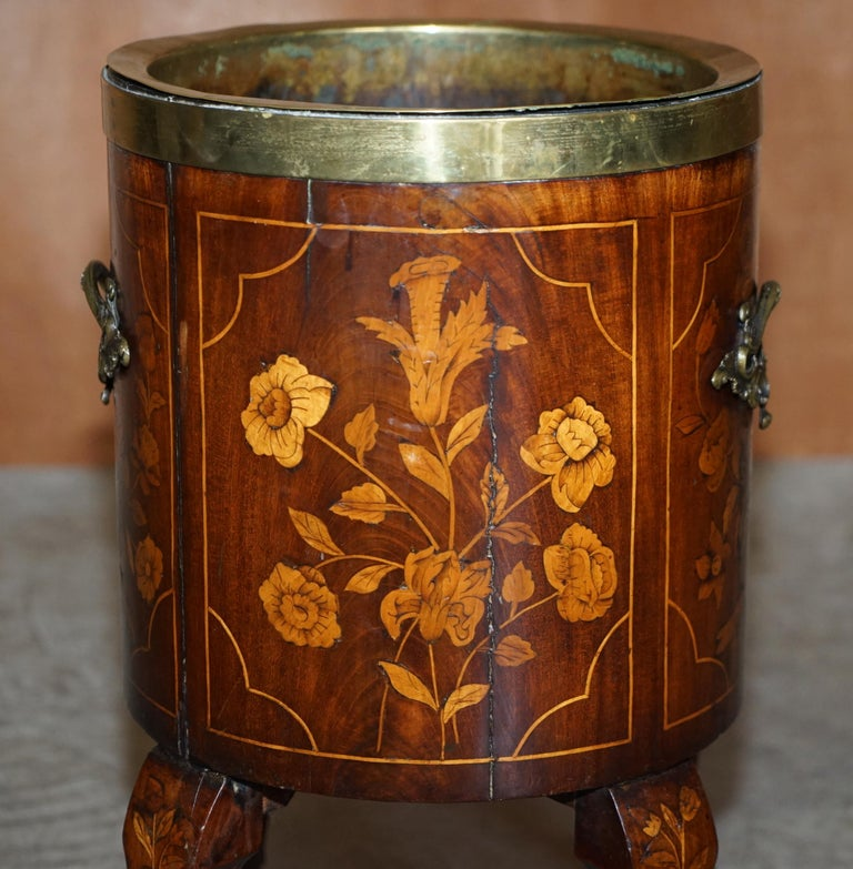 Exquisite Antique circa 1800 Dutch Inlaid Wine Cooler Bucket Claw & Ball Feet For Sale 3