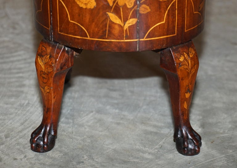 Exquisite Antique circa 1800 Dutch Inlaid Wine Cooler Bucket Claw & Ball Feet For Sale 4