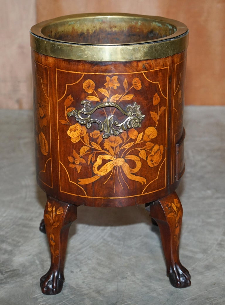 Exquisite Antique circa 1800 Dutch Inlaid Wine Cooler Bucket Claw & Ball Feet For Sale 6