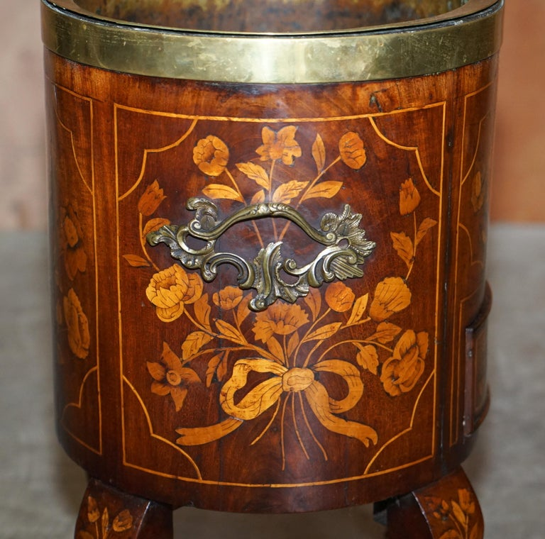 Exquisite Antique circa 1800 Dutch Inlaid Wine Cooler Bucket Claw & Ball Feet For Sale 7