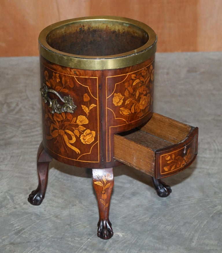 Exquisite Antique circa 1800 Dutch Inlaid Wine Cooler Bucket Claw & Ball Feet For Sale 10