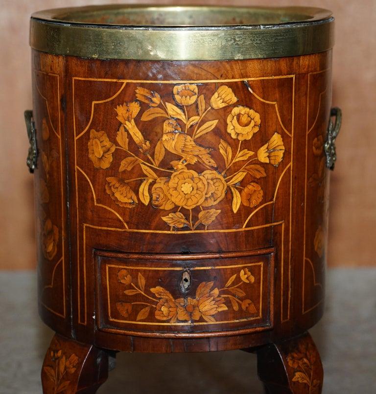 Georgian Exquisite Antique circa 1800 Dutch Inlaid Wine Cooler Bucket Claw & Ball Feet For Sale