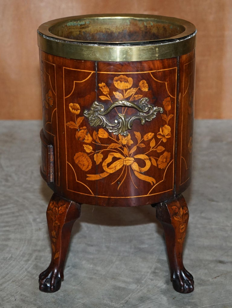 Wood Exquisite Antique circa 1800 Dutch Inlaid Wine Cooler Bucket Claw & Ball Feet For Sale