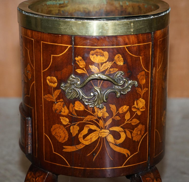 Exquisite Antique circa 1800 Dutch Inlaid Wine Cooler Bucket Claw & Ball Feet For Sale 1