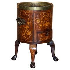 Exquisite Antique circa 1800 Dutch Inlaid Wine Cooler Bucket Claw & Ball Feet