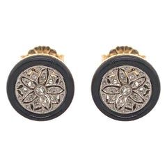 Exquisite Antique Onyx Diamond Platinum and Gold Stud Earrings