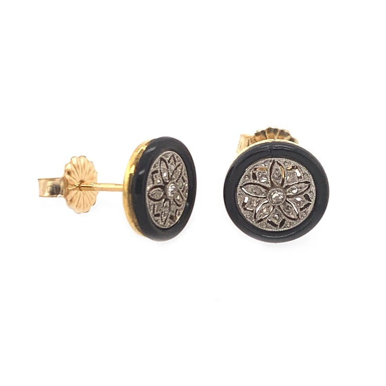 An Exquisite Pair of Onyx /& Gold Pierced Earrings