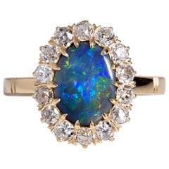 Exquisite Antique Victorian Lightning Ridge Black Opal Diamond Cluster Ring