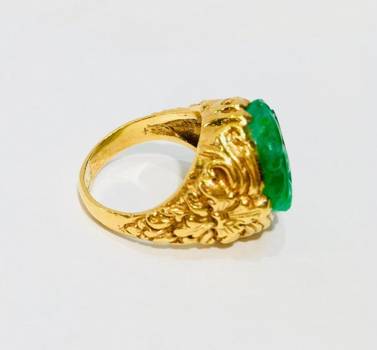 Exquisite Art Deco 12 Carat Jade Carved Flower Apple Green Jade 22 Karat Ring For Sale 6