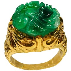 Exquisite Art Deco 12 Carat Jade Carved Flower Apple Green Jade 22 Karat Ring