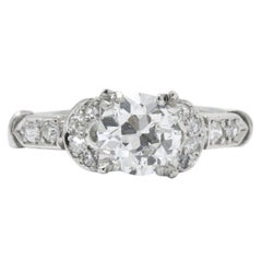 Exquisite Art Deco 1.39 Carats Diamond Platinum Engagement Ring GIA