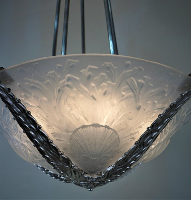 Exquisite Art Deco Chandelier by Muller Freres In Good Condition For Sale In Fairfax, VA