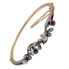Exquisite Art Nouveau Sapphire Diamond Rare 18 Karat Bangle