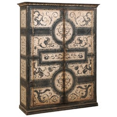 Exquisite Artisan Hand Painted Tall Two-Door Cabinet from Italy Mid-20th Century
