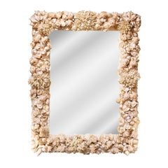 Exquisite Artisan Mirror with Applied Sea Shells and Coral 1970s
