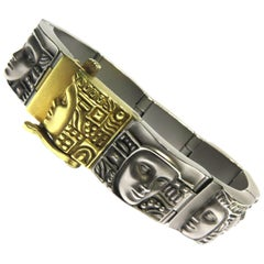 """Exquisite B. Kieselstein-Cord Gold and Steel """"Women Of The World"""" Bracelet"""