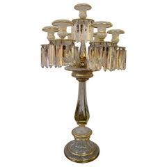 Exquisite Baccarat Crystal Candelabrum Decorated with Latticini