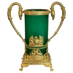 Exquisite Baccarat Empire Style Ormolu Mounted Vase, in Green