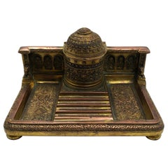 Exquisite Bizantine French Empire Napoleon III Bronze Ormolu Inkwell or Inkstand