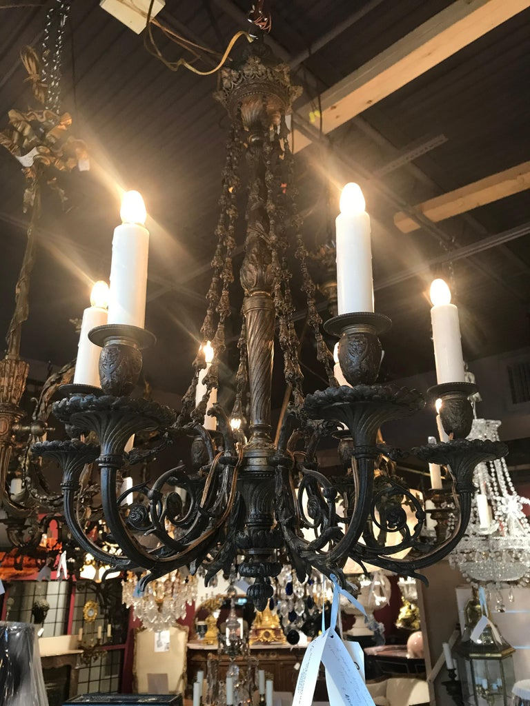 Exquisite bronze chandelier. 6-light, France, circa 1900 Dimensions: Height 26