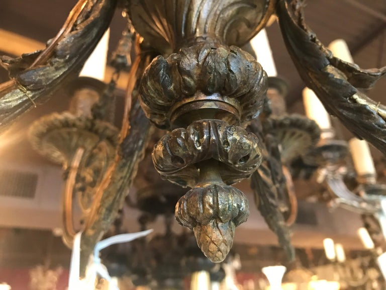 Early 20th Century Exquisite Bronze Chandelier For Sale
