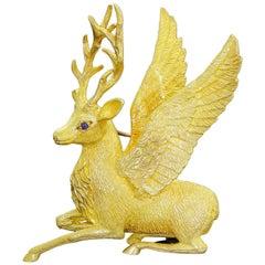 Exquisite Cartier 18K Gold Holiday Christmas Winged Reindeer Deer Brooch 25Gr